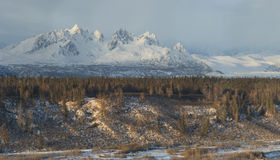 Spiky mountain range in Alaska range, panoramic Royalty Free Stock Photos