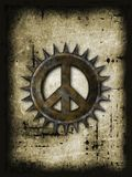 Spiky peace. Rusty peace symbol with spikes on grunge background - 3d rendering Stock Image