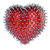 Spiky red leather chesterfield upholstery heart Royalty Free Stock Photos