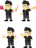 Spiky Rocker Boy Customizable Mascot 12. A vector set of a rocker boy in several poses. Drawn in cartoon style, this vector is very good for design that need Stock Photography