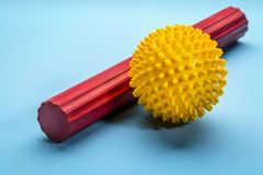 Spiky self massage ball and roller bar Stock Photo