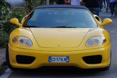 Exhibition of Ferrari cars on streets of Spilamberto, Italy. Spilamberto, Italy- October 02, 2016: Exhibition of cars from Ferrari Museum on streets of Royalty Free Stock Photos