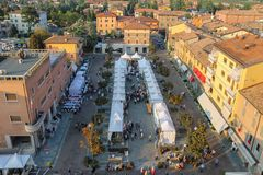 People on festivities in historic center of Spilamberto, Italy. Royalty Free Stock Photo