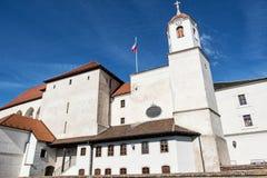 Spilberk城堡是在小山顶在布尔诺,南部的平均观测距离的一座城堡 免版税库存照片