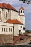 Spilberk城堡有外型塔的大门桥梁 免版税库存照片