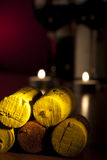 Spile yellow wood light candle Royalty Free Stock Image