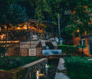Spili Crete, Greece August 2018: Night view on a park in the village of Spili with tavernas on Crete island. Photo taken in Greece royalty free stock photos