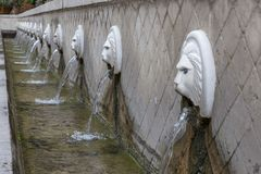 Historical Venetian fountain with Lions head at Spili Crete Greece. royalty free stock image