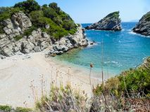 Spilia beach on Skopelos island royalty free stock image