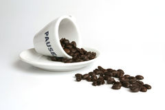 Spill of coffee beans. Coffee break Stock Photo