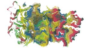 Spill of colors. Abstract illustration created in computer, a spill of colors, art, decoration concept Stock Images