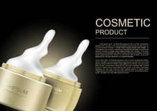 Spill cosmetic cream and gold jars with on dark background vecto Stock Image