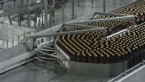 Spill in glass bottles at the plant. Conveyor belt with glass bottles. The production process of alcoholic beverages