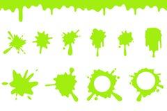 Spill green slime splash flowing dripping splatter seamless liquid cartoon design vector illustration. Spill green slime splash flowing splatter dripping vector illustration