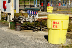 Spill Kit. And containment barrel at a petroleum truck farm Stock Photos