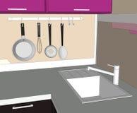 Spillare del lavandino e degli apparecchi di cucina Fotografia Stock Libera da Diritti