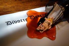 spilld wine för dekret skilsmässa Arkivbilder