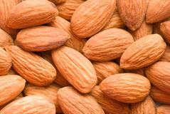 Spilled almonds. Top view Royalty Free Stock Photos