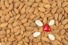 Spilled almonds. We like almonds. Healthy food. Royalty Free Stock Photos