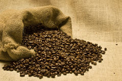 Spilled Bag of Coffee Beans Stock Photography