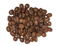 Spilled beans. Coffee beans isolated on white background Stock Photography
