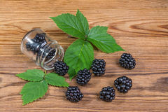 Spilled blackberries on a garden table. Black forest fruits with green blackberry leaves on the brown wooden background stock image