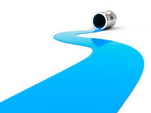 Spilled blue paint. On white background. 3d render Royalty Free Stock Photo