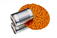 Spilled can of baked beans Royalty Free Stock Photography