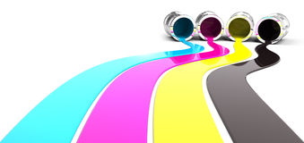 Spilled CMYK paint Royalty Free Stock Images