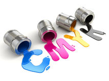 Spilled CMYK paint. 3d Royalty Free Stock Photo