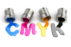 Spilled CMYK paint. 3d Stock Photo
