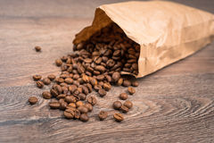 Spilled coffee bag Royalty Free Stock Images