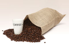 Spilled coffee beans Stock Photos