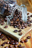 Spilled coffee beans Stock Images