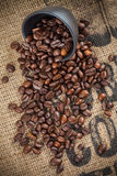 Spilled coffee beans and black cup Royalty Free Stock Photos