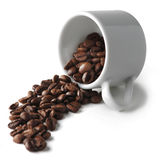Spilled coffee beans from cup Royalty Free Stock Image