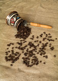 Spilled coffee beans Royalty Free Stock Images
