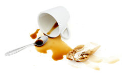 Spilled coffee. Spilled coffee and dirty paper napkin Royalty Free Stock Image
