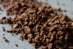 Spilled coffee grains stock image