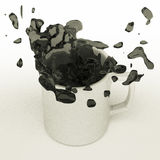Spilled coffee from mug Stock Image