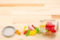Spilled colorful jelly beans Royalty Free Stock Photos