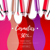 Spilled colorful lip gloss background. Spilled colorful lip gloss with applicators background. Make-up cosmetic products vector 3D illustration. Good for ads royalty free illustration