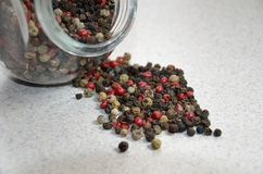 spilled colorful pepper on the background Royalty Free Stock Photo