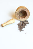Spilled contents of Mortar and Pestle Stock Images