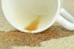 A spilled cup of coffee Royalty Free Stock Images