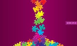 Spilled färgade vektorpussel stock illustrationer