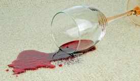 A spilled glass of red wine Stock Photos