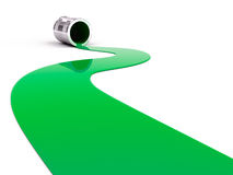 Spilled green paint. On white background. 3d render Stock Images