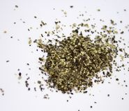 Spilled ground pepper. On the white background stock images