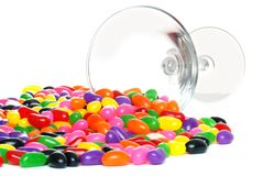 Spilled jelly beans from a martini glass Royalty Free Stock Photo